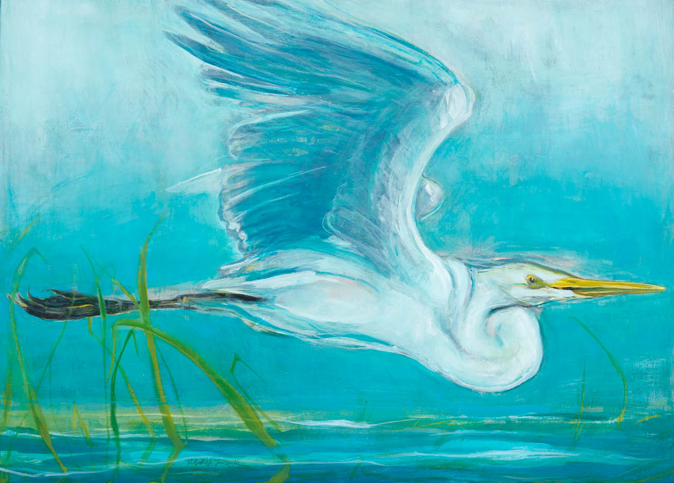 """Great White Egret<br/>Ink acrylic on canvas 30""""X40""""<br/>Artemis Gallery"""
