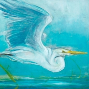 "Great White Egret<br/>Ink acrylic on canvas 30""X40""<br/>Artemis Gallery"