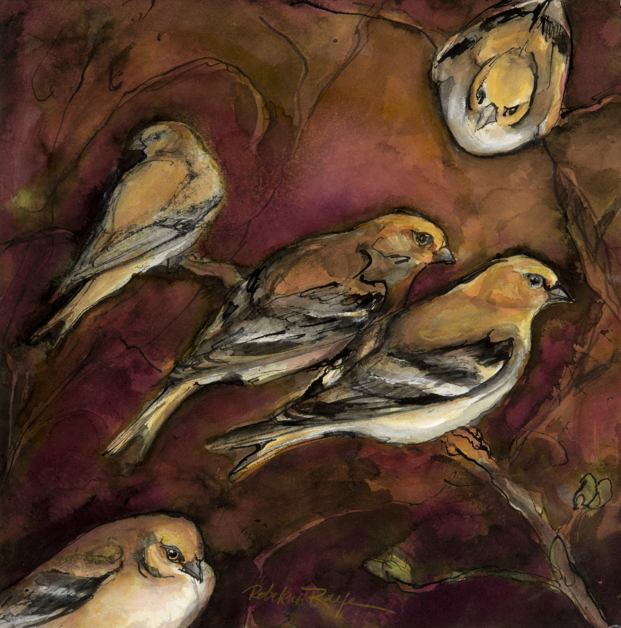 "Rebekha Raye-Goldfinch Family-ink watercolor-18""X18"".jpg"